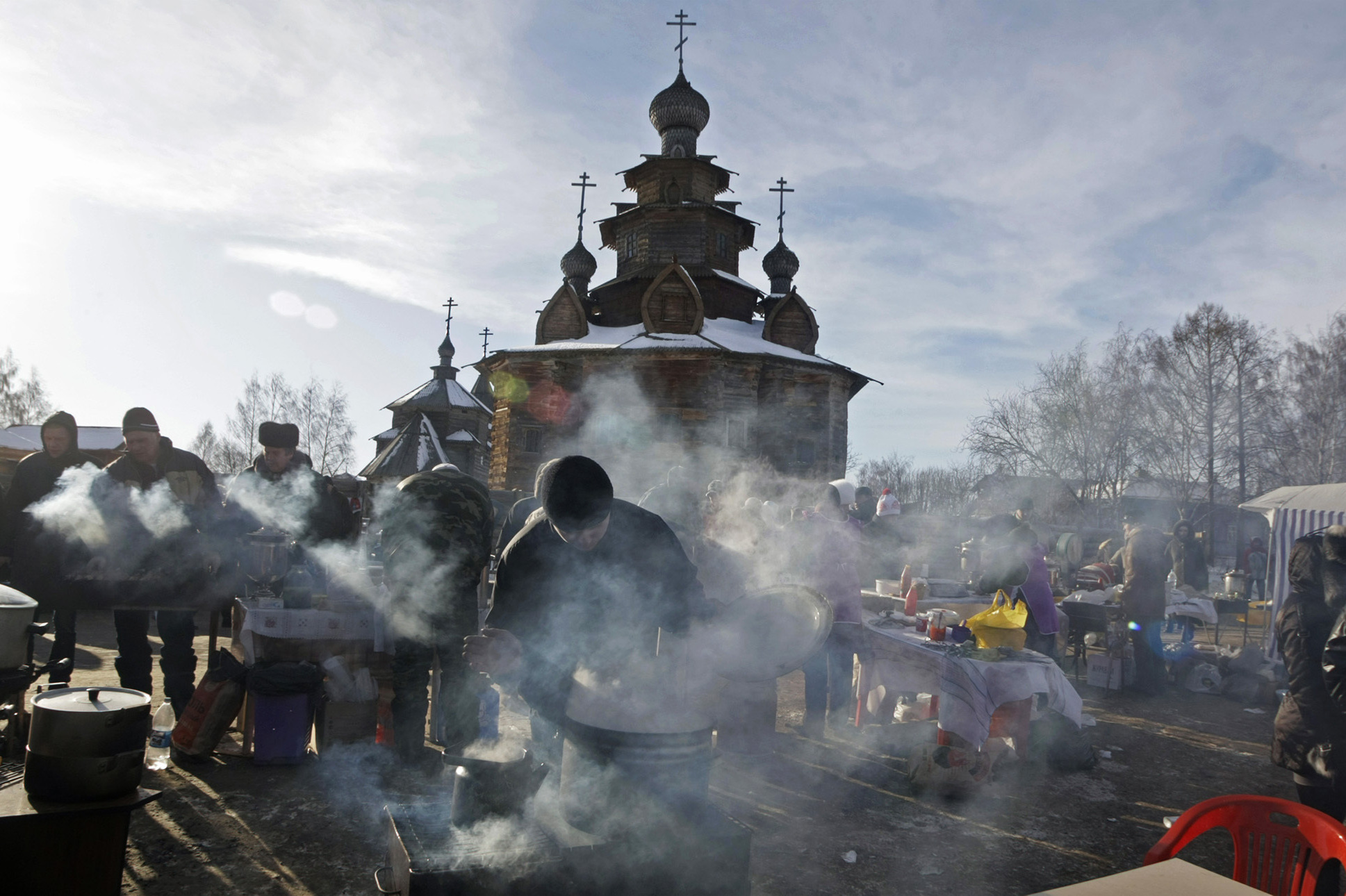 Street vendors in the ancient Russian city of Suzdal, some 124 miles east of Moscow, prepare the traditional foods that mark the Maslenitsa holiday in 2010.