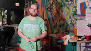 Dan Deacon at home in his practice space.