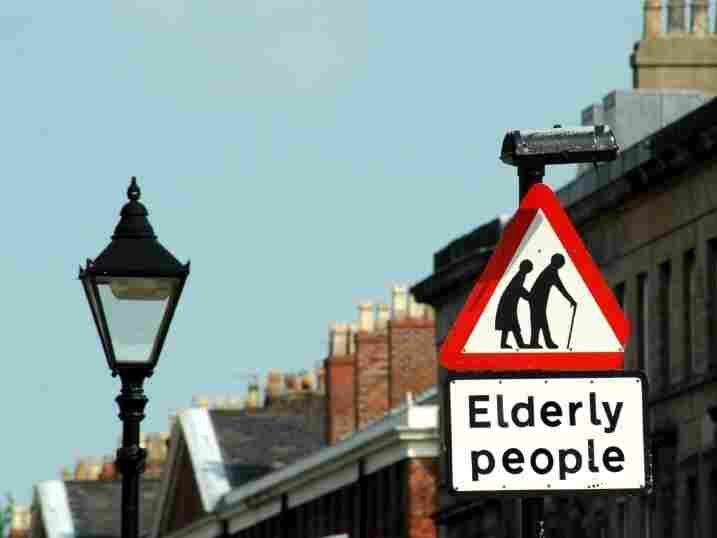 "A traffic sign in the U.K. depicts ""elderly people"" as frail and hunched over. It was first created in the 80s, but many now consider it out of date."