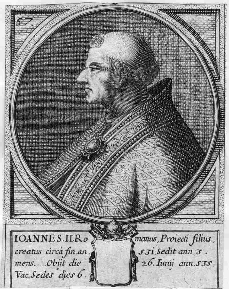 Pope John II, whose name at birth was Mercurius. When he became pope in 533 he changed his name — starting a tradition that continues.