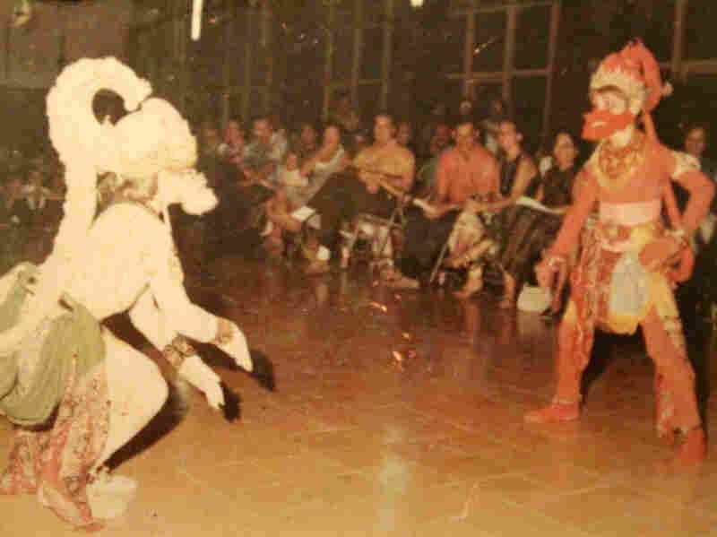 Sullivan (left) dancing Hanuman, the white monkey role in a Javanese dance performance in Jakarta in about 1970.