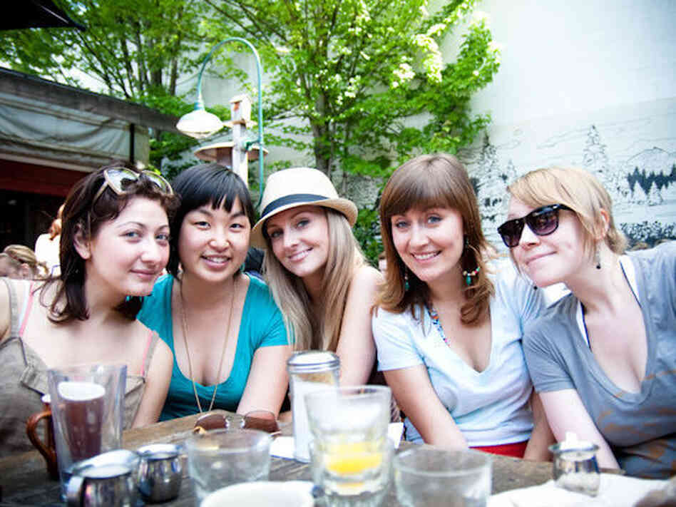 "Jessica Hong, second from left, at brunch with friends. ""Though I am clearly the lone Asian person, I don't think I've ever felt like the 'Asian friend' amongst these girls,"" she says."