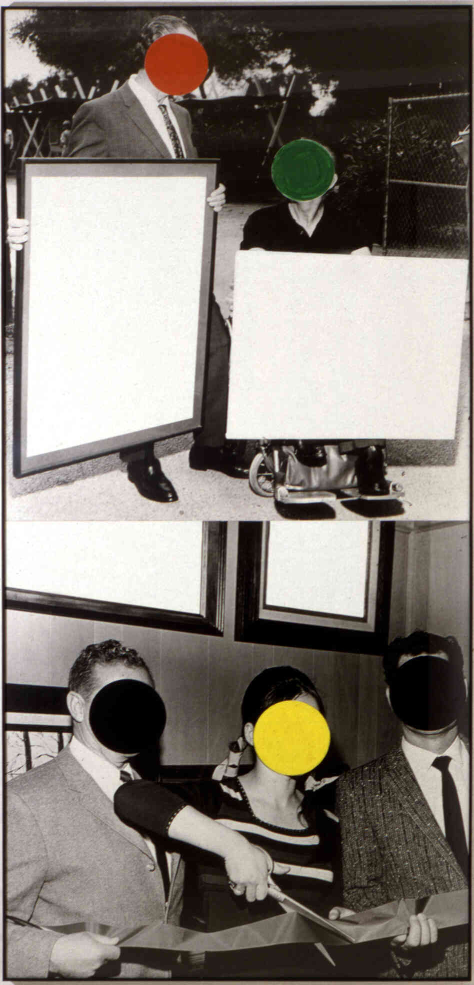 """Cutting Ribbon, Man In Wheelchair, Paintings (Version #2), 1988"" shows John Baldessari's signature technique, faces covered with colorful circles. The practice had its genesis when the artist idly stuck a price sticker on the face of someone pictured in a newspaper clipping."