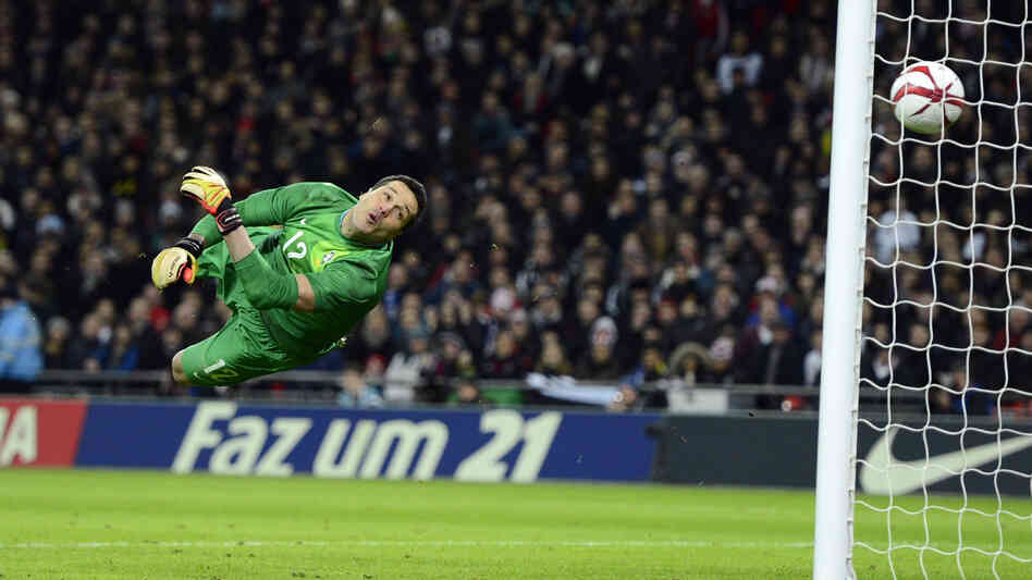 Math and sports are expressions of our controlled creativity. Above, Brazil goalkeeper Julio Cesar watches as the ball sails past for an England goal by Frank Lampard during a friendly at London's Wembley Stadium on February 6, 2013.