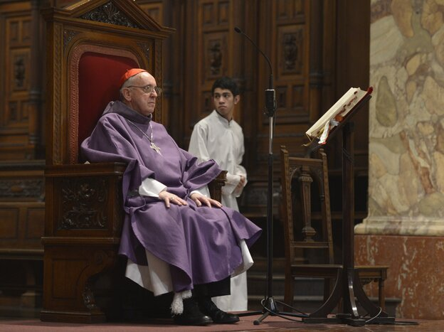 Argentine Archbishop Jorge Bergoglio during a mass for Ash Wednesday, opening Lent on February 13, 2013 at the Metropolitan Cathedral in Buenos Aires, Argentina.
