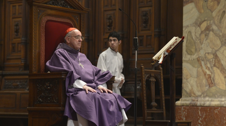 Argentine Archbishop Jorge Bergoglio during a mass for Ash Wednesday, opening Lent on February 13, 2013 at the Metropolitan Cathedral in Buenos Aires, Argentina. (AFP/Getty Images)