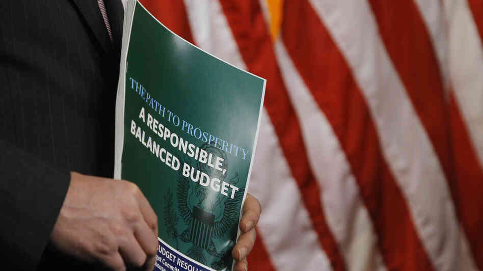 A member of the House Budget Committee holds a copy of the Republican budget proposal on Tuesday in Washington.
