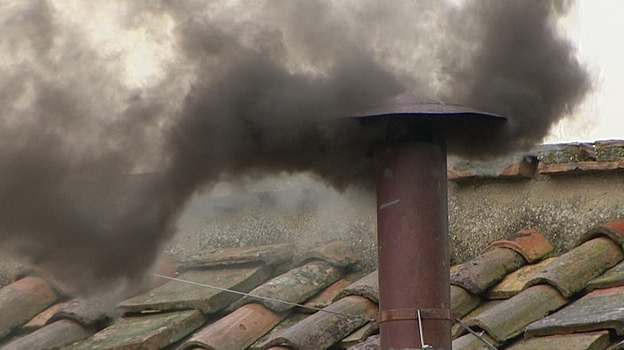 Black smoke rose from the chimney on the Sistine Chapel at midday Wednesday in Vatican City. That means the cardinals have not yet chosen a new pope. (Reuters /Landov)