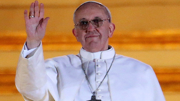 Pope Francis as he waved to the crowd in St. Peter's Square at the Vatican on Wednesday. (Getty Images)