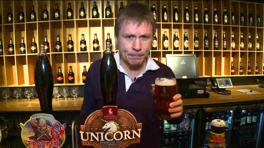 """Iron Maiden lead singer Bruce Dickinson samples his band's latest offering, Trooper ale, made with what he calls """"our special secret-squirrel recipe."""""""