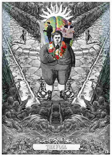 """Visual art has long been one of Taussig's many side pursuits. This piece, """"The Fool,"""" is part of a series of collage-based reinterpretations of tarot cards."""