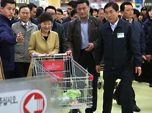 "South Korean President Park Geun-hye pushes a cart in a store in the capital Seoul. In remarks Wednesday, North Korea referred to the ""venomous swish"" of her skirt."