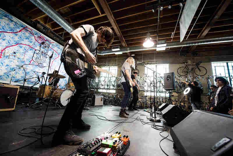 Filled with a distorted urgency, Bleeding Rainbow bends notes and pummels the crowd at the KEXP showcase at Mellow Johnny's.