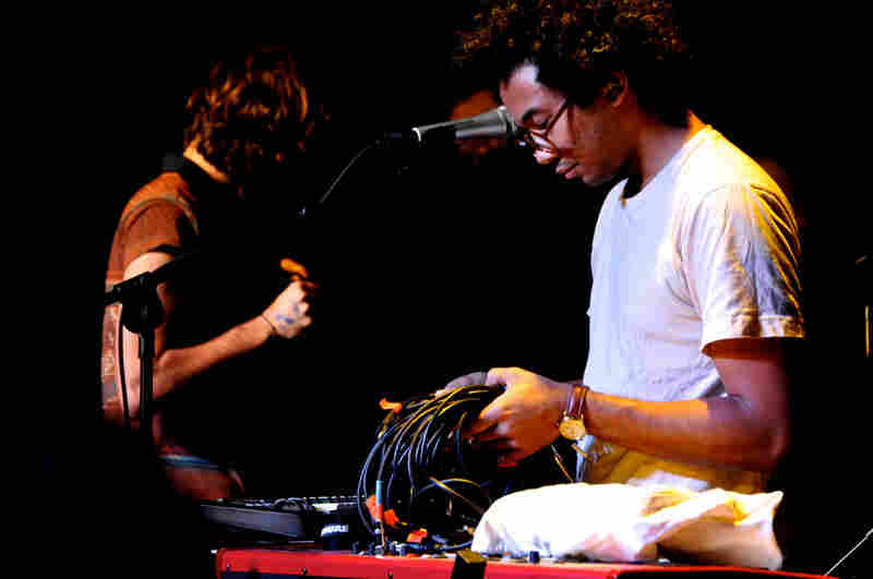 Wrapped in cords, Toro y Moi plays the KCRW showcase at Haven.