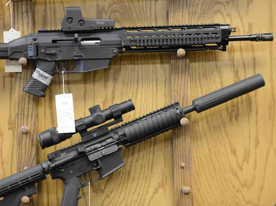 Assault-style rifles on display at Chuck's Firearms gun store in Atlanta.