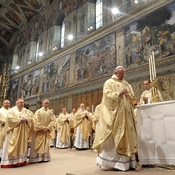 Jorge Mario Bergoglio attends his first Mass with cardinals as Pope Francis in the Sistine Chapel on March 14, 2013 in Vatican City.