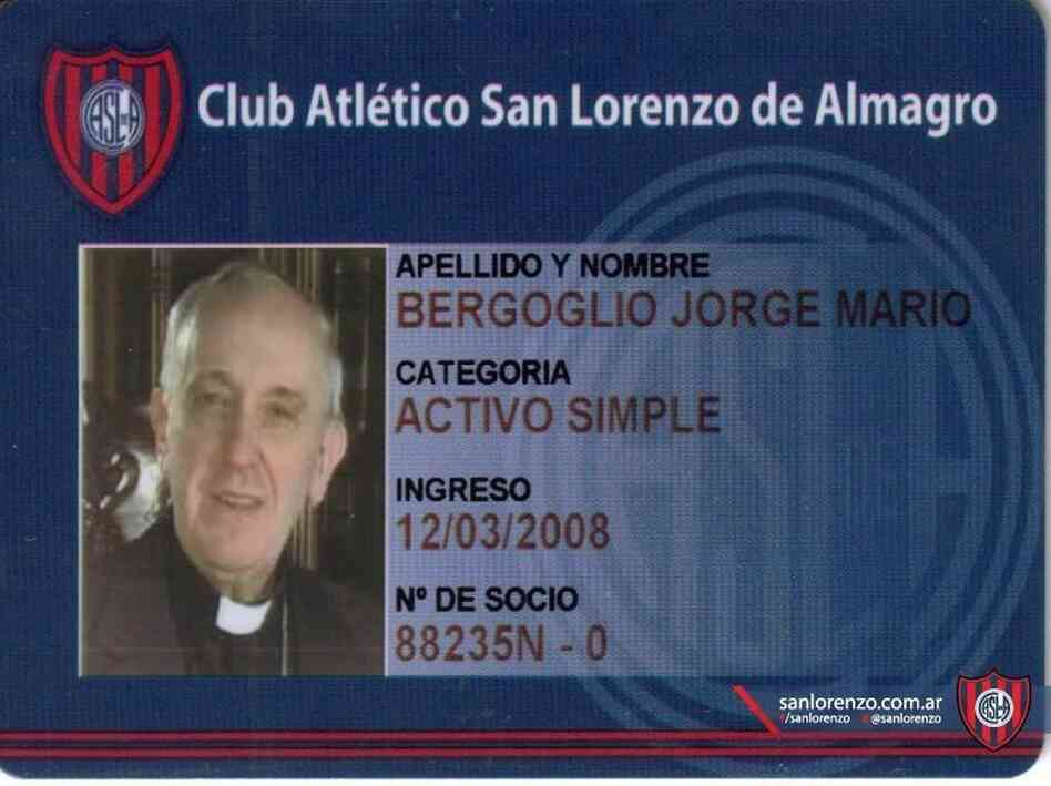 Cardinal Jorge Mario Bergoglio (now Pope Francis) is a card-carrying supporter of the San Lorenzo soccer team.
