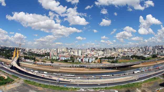 The city of Sao Paolo, Brazil, shot with a fisheye lens. Standards of living are improving not just in the big developing nations like Brazil, but also in smaller countries such as Bangladesh and Ghana.