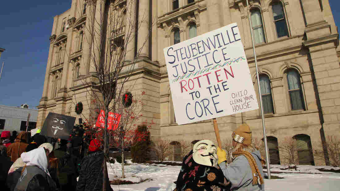 Protesters rally on the steps of the Jefferson County Courthouse in January in Steubenville, Ohio, over a rape case involving local high school football players.