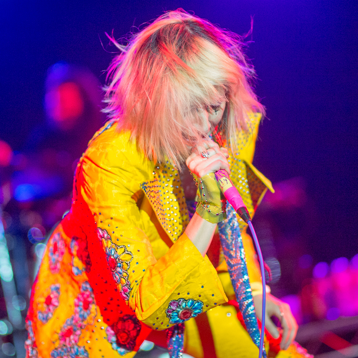 Karen O led the Yeah Yeah Yeahs through a set at Stubb's that included songs from the band's new album, Mosquito.