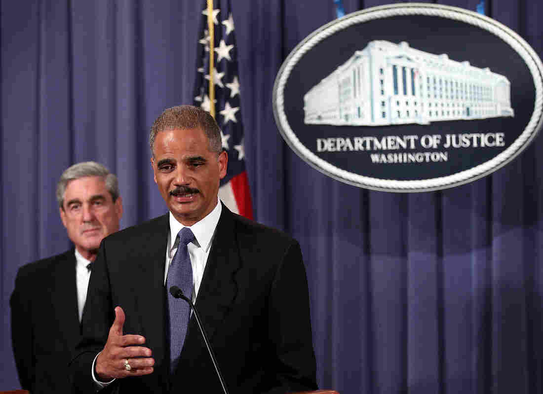 U.S. Attorney General Eric Holder, right, and FBI Director Robert Mueller.