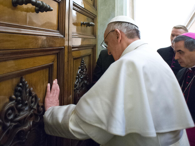 Pope Francis as he visits the papal residence at the Vatican on Thursday.
