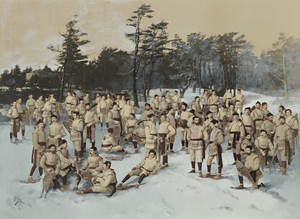 Red Cap Snow Shoe Club, Halifax, Nova Scotia, circa 1888, collage of albumen prints with applied media (Wm. Notman and Son, Montreal, Eugene L'Africain, William Notman)