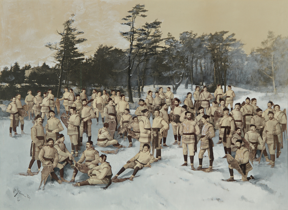 Red Cap Snow Shoe Club, Halifax, Nova Scotia, circa 1888, collage of albumen prints with applied media (Wm. Notman and Son, Montreal, Eugene L'Africain, William Notman) (Courtesy of the National Gallery of Art)