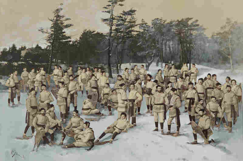 Red Cap Snow Shoe Club, Halifax, Nova Scotia, circa 1888, collage of albumen prints with applied media (Wm. Notman and Son, Montreal, Eugene L'Africain, William Notman)