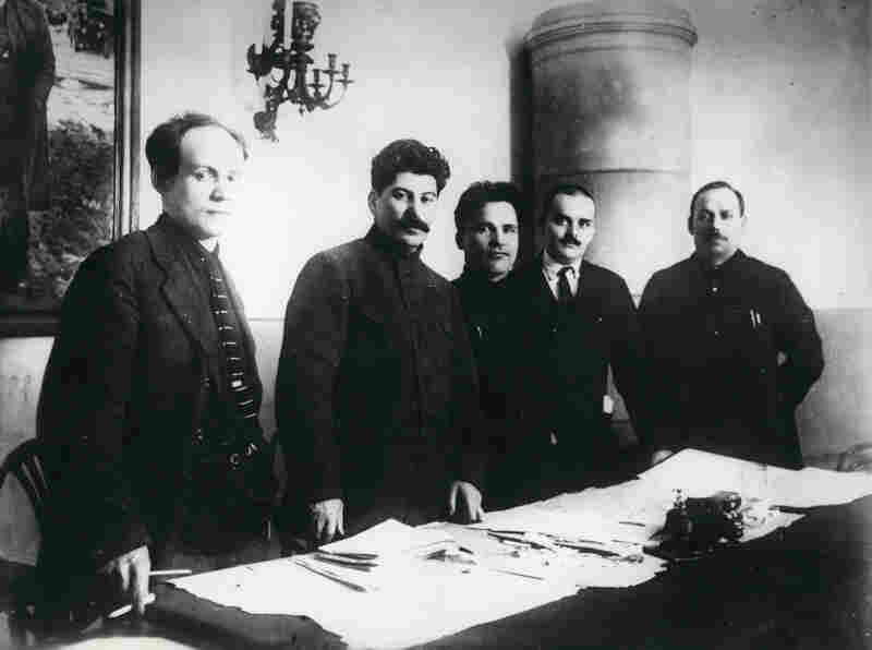 Nikolay Antipov, Joseph Stalin, Sergey Kirov, Nikolay Shvernik and Nikolay Komarov at the Fifteenth Regional Party Conference, Leningrad, 1926, printed later (Unknown Photographer)