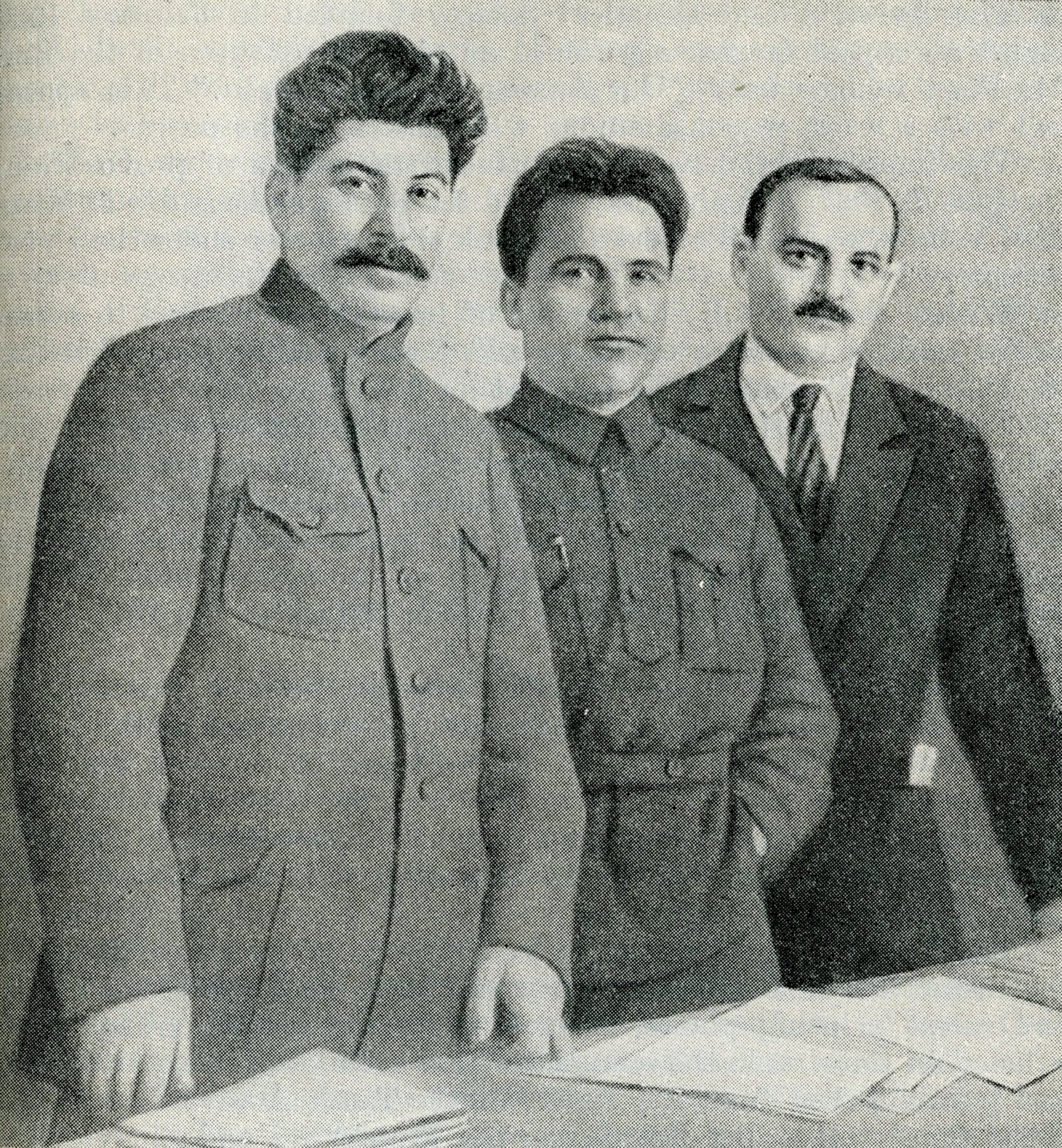 Joseph Stalin, Sergey Kirov and Nikolay Shvernik, 1926, published in A History of the U.S.S.R., Part 3 (Moscow, 1948)