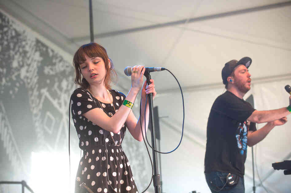 Dramatic, blissful and awash in synths, Lauren Mayberry (left) and Martin Doherty of CHVRCHES play the Fader Fort.