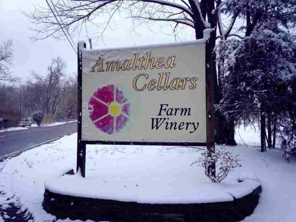 A sign outside Lou Caracciolo's winery, Amalthea Cellars.