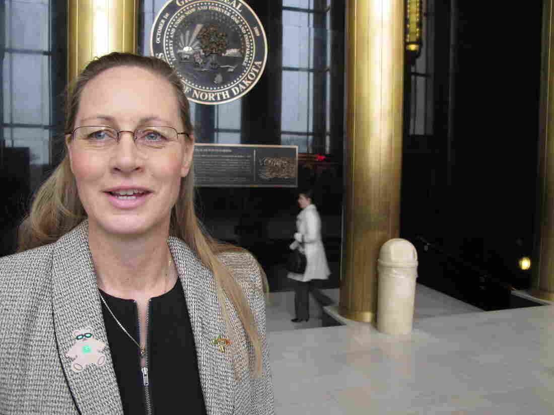 Rep. Bette Grande, R-Fargo, talks to reporters at the state Capitol in Bismarck, N.D. on Friday.