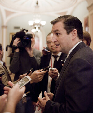 Texas Republican Ted Cruz, then senator-elect, speaks to reporters before a freshman senators luncheon on Nov. 13.