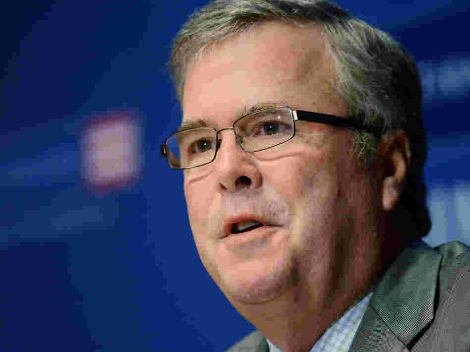 Former Florida Gov. Jeb Bush speaks to the media after being named chairman of the National Constitution Center's Board of Trustees Dec. 6 in Philadelphia.