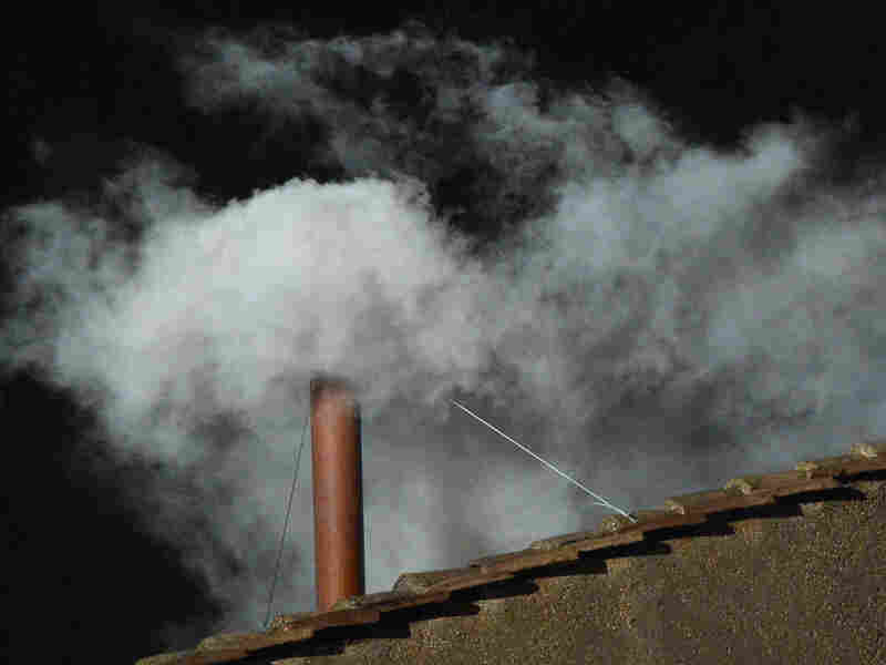 White smoke rises from the chimney on the roof of the Sistine Chapel meaning that cardinals elected a new pope.