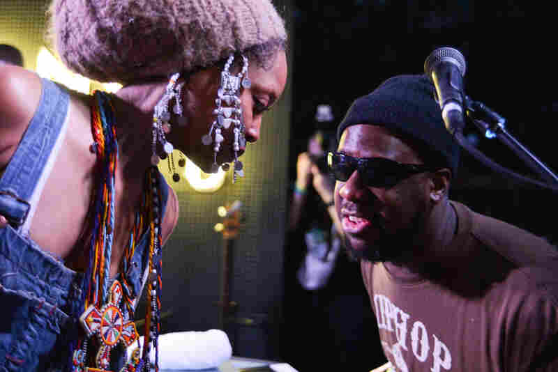 Erykah Badu (left) joins Robert Glasper of the Robert Glasper Experiment for some R&B-drenched jazz at Sonos Studio.