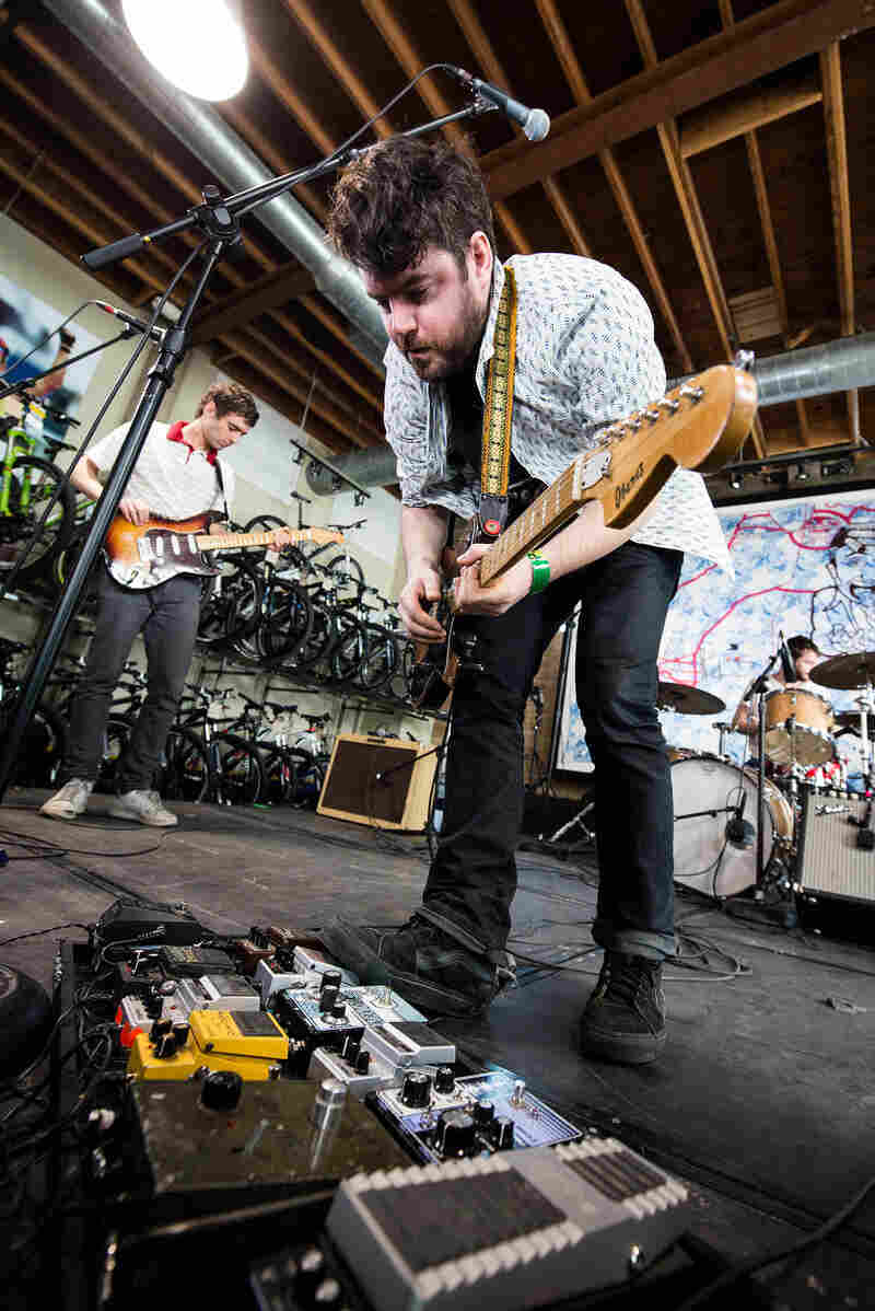 Turn it up! Experimental psych-rock band Suuns plays the KEXP showcase at Mellow Johnny's.