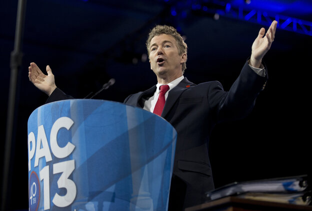 Kentucky Sen. Rand Paul speaks at the 40th annual Conservative Political Action Conference in National Harbor, Md., Thursday. The Tea Party favorite won a presidential straw poll at the annual event on Saturday.