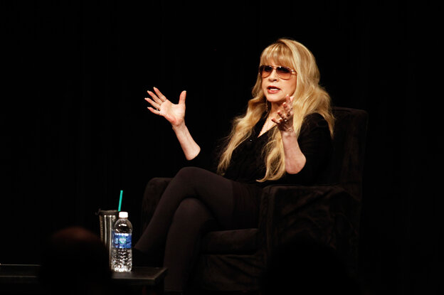 Stevie Nicks speaking on stage at the 2013 South by Southwest Music Festival in Austin, Texas.
