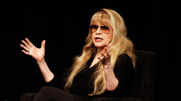 Stevie Nicks speaking on stage at the 2013 South by Southwest Music Festival in Austin, Texas. (NPR)