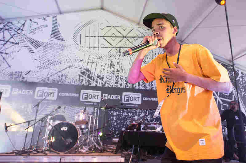 """18-year-old rapper and Odd Future member Earl Sweatshirt makes his festival debut at the Fader Fort. He performed a new, raw Pharrell Williams-produced track called """"Burgundy."""""""