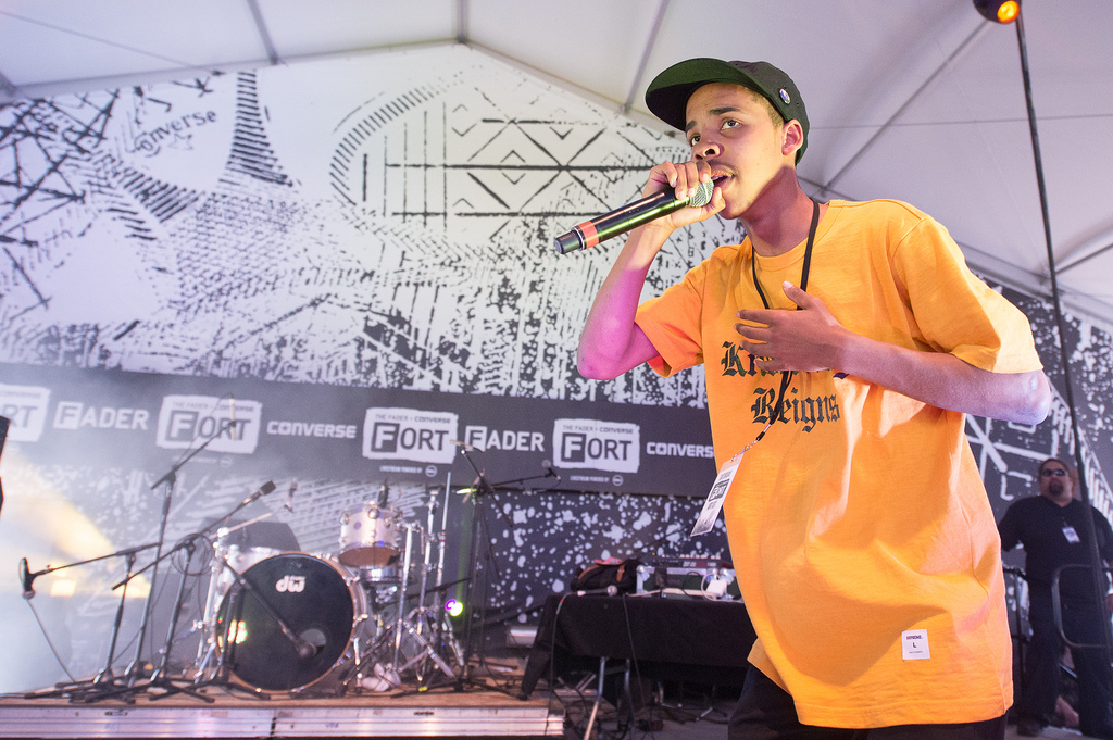 "18-year-old rapper and Odd Future member Earl Sweatshirt makes his festival debut at the Fader Fort. He performed a new, raw Pharrell Williams-produced track called ""Burgundy."""