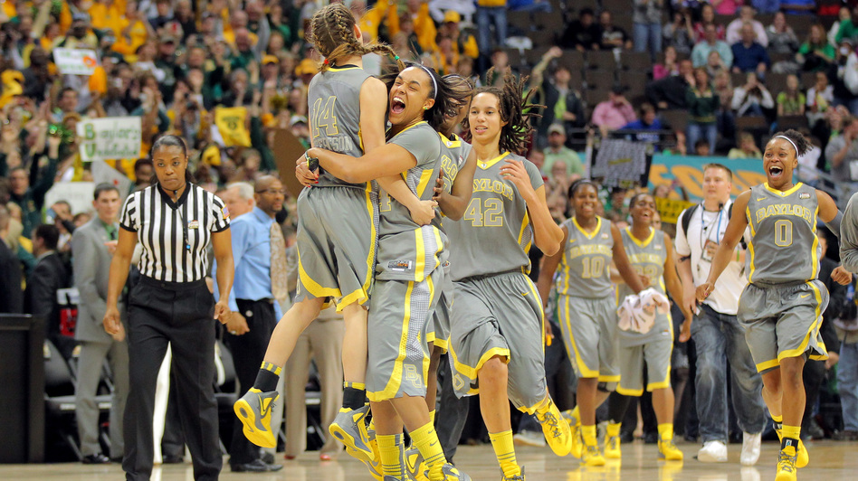 Makenzie Robertson #14, Mariah Chandler #44, Brittney Griner #42 and Odyssey Sims #0 of the Baylor Bears celebrate after they won 80-61 against the Notre Dame Fighting Irish during the National Final game of the 2012 NCAA Division I Women's Basketball Championship at in Denver. (Getty Images)
