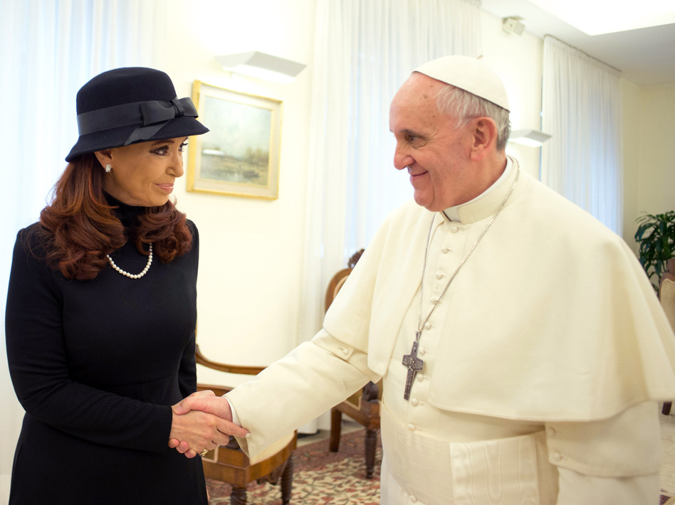 Pope Francis meets Argentinian President Cristina Fernandez de Kirchner on Monday in Vatican City.