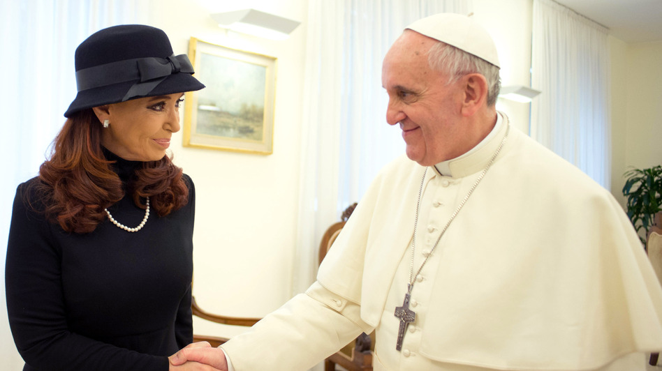 Pope Francis meets Argentinian President Cristina Fernandez de Kirchner on Monday in Vatican City. (Getty Images)