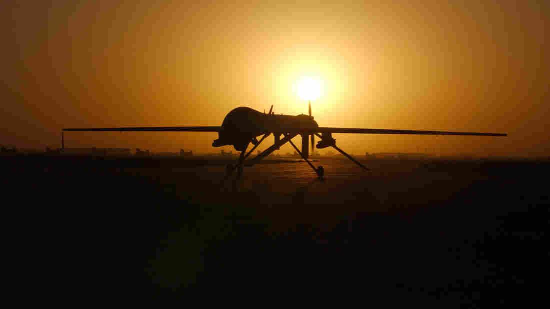 A Predator drone at Balad Air Base, Iraq, in 2004.