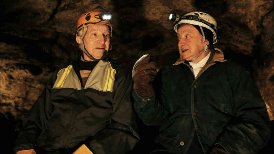 Sam and Saul Stermer, members of a family who hid in an underground Ukrainian cave in the early days of World War II, return to the hideout in No Place on Earth.