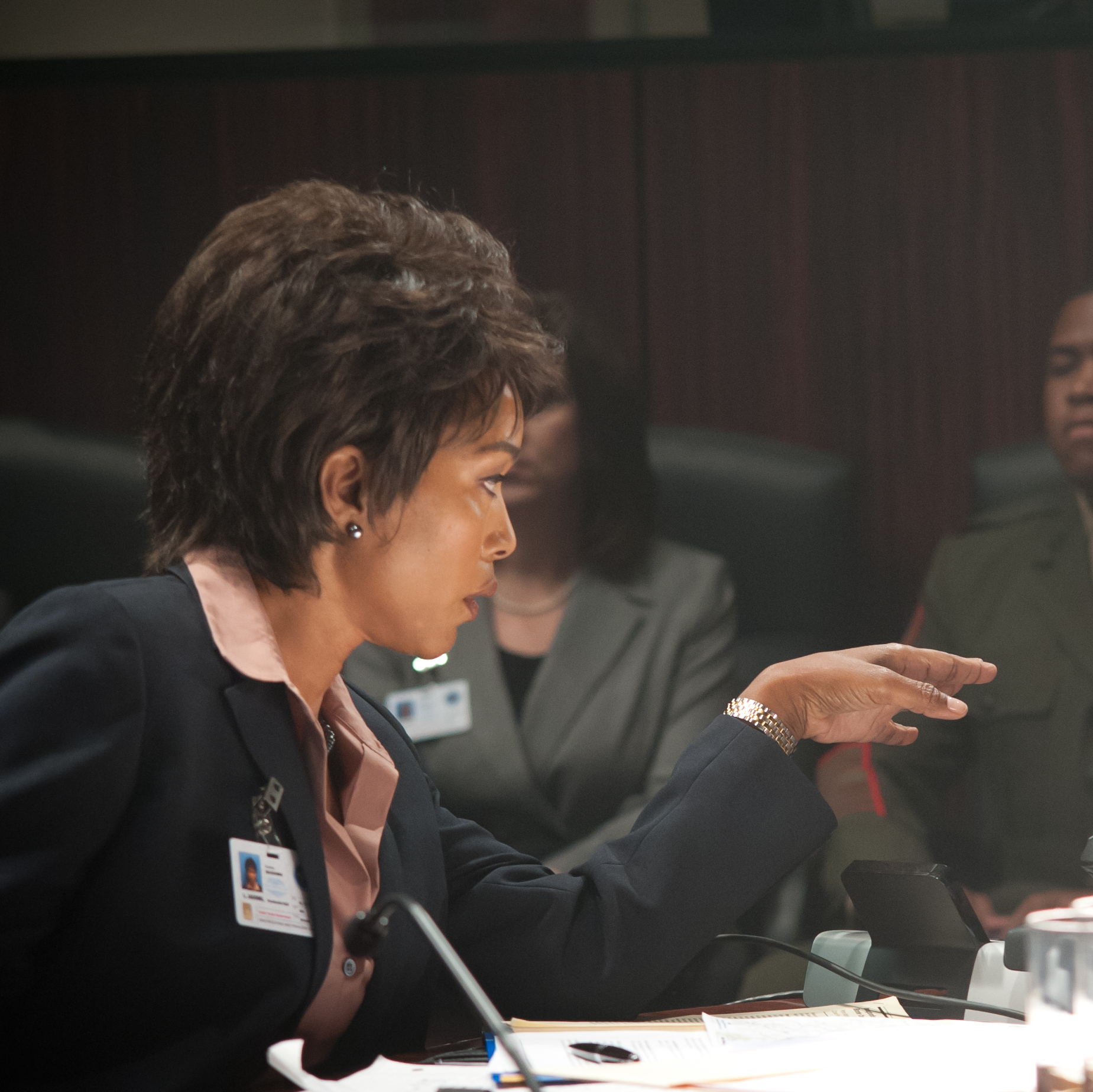 Angela Bassett as Secret Service Director Lynn Jacobs and Morgan Freeman as Speaker Allan Trumbull.